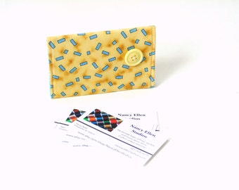 Business card holder, gift card holder, business card case, credit card holder, card wallet, yellow blue, 2 pockets, coworker gift