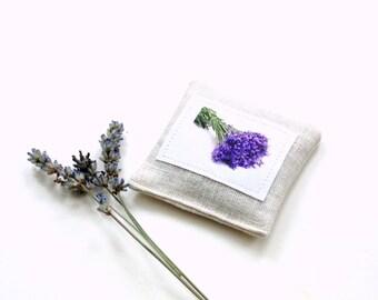 Organic lavender sachet, bridesmaids gifts, wedding shower favor, drawer freshener, Summer wedding gift, linen lavender, for her