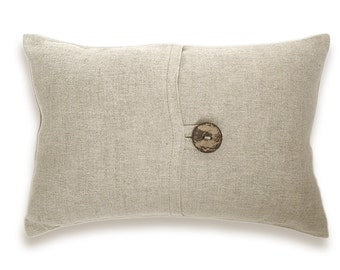 Natural Beige Textured Linen Lumbar Pillow Cover Coconut Button 12x18 inch ANDREA DESIGN