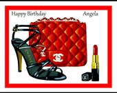 Chanel shoes bag Lipstick Personalised Greetings Card Birthday Christmas Mothers day card thank you 7 x 5 inches from art