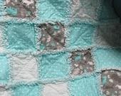 Shabby rag baby quilt baby girl rag quilt mint green polka dots
