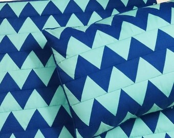 blue cotton zigzag quilted sewing pattern bedspread- coverlet bedding-king quilt-cotton bedspread-solid colour quilt