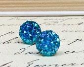 Teal Druzy Earrings, Sparkly Crystal Earrings, Blue Green Stud Earrings, Faux Druzy Cabochons, Geometric Galaxy Earrings, Circle Studs