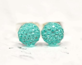 Tiny Mint Green Glitter Drops Earrings, Little Sparkly Stainless Steel Studs, Simple and Small Dot Earrings