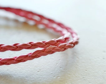 Pink Braided Leather Necklace, Pink Cord Leather Cording, Finished Necklace Add a Pendant 18 inches