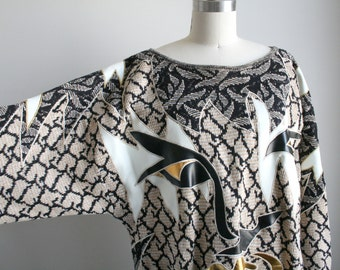 80s Applique Sweater Dress with Abstract Face - Avant Garde