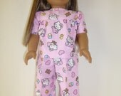 Pajamas, Girls Pajamas, American Girl Doll Clothes, 18 Inch Doll Dress, Dolls, Gifts for Girl, PJ's, Girl's Toys, Hello Kitty,