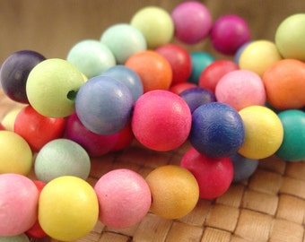 6, 8, or 12 mm Round Wood Beads, Mixed Rainbow Colors, 15 inch strand