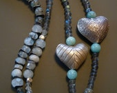 Labradorite beaded necklace with Thai silver hearts