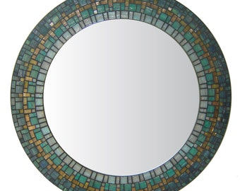 Round Wall Mirror - Blue, Green, & Teal Mosaic
