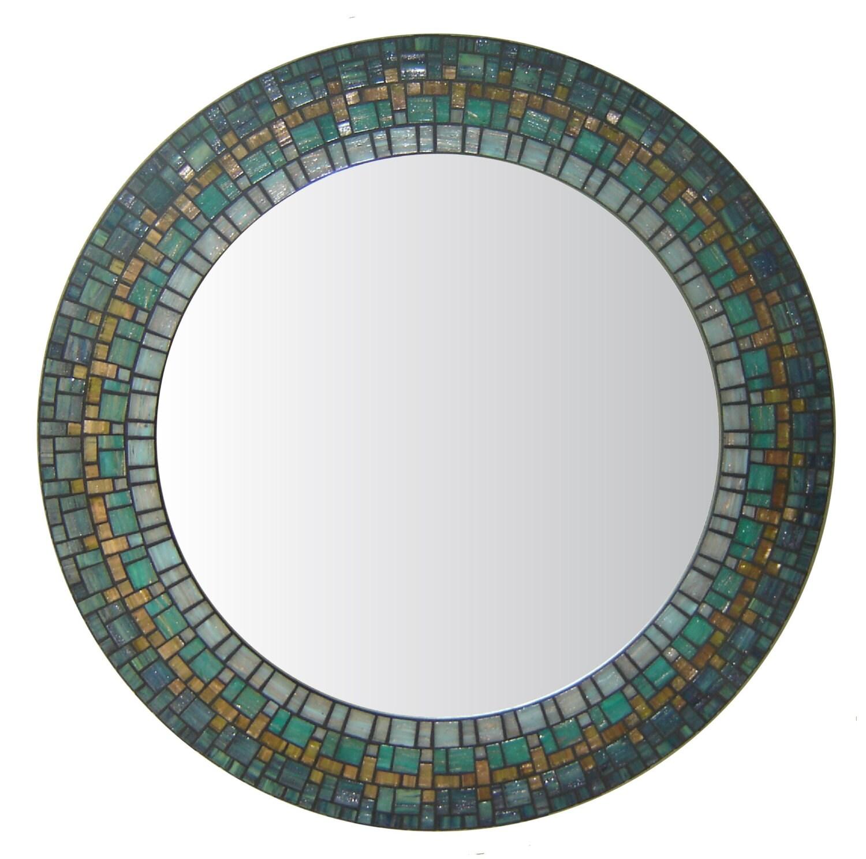 Round wall mirror blue green teal mosaic for Mosaic mirror