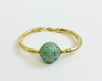 Designer Inspired Vintage Gold Turquoise Aqua Blue Ball Bowl Curved Tube Bangle Cuff Bracelet ... Gift for Her / Statement Bracelet