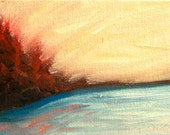 Landscape Miniature Small Oil Painting on Canvas Panel Scarlet Red Yellow Blue Sunset Sunrise Contemporary Painting Art