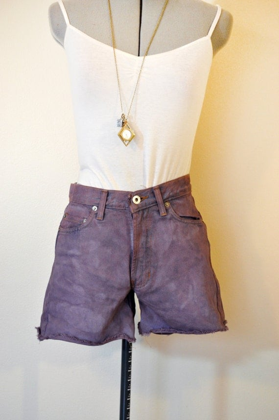 Plum Sz 0 Dyed Denim SHORTS - Urban Style Denim Plum Violet Dyed Abercrombie Fitch Vintage Cut Off Shorts - Size 0 (28 Waist)