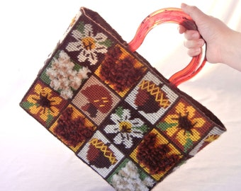 Plastic Canvas Needlepoint Tote, Acorns, Mushrooms, Daisies, Black-Eyed Susans, Mod 70s Woodland Motif, Hand-Embroidered
