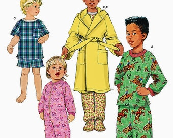 Child Sleepers with Feet Pattern, Children's Pajama Pattern, Child's Hooded Robe Pattern, Simplicity Sewing Pattern 1572