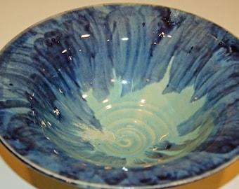 Ceramics and Pottery Bowl, Blue and Green, Pasta Bowl, Fruit Bowl, Ceramic Bowl