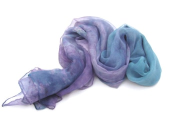 Silk scarf ombre blue violet long chiffon pure mousseline luxury gift for women, Mother's Day Ideas, Gift for Guests