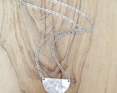Hammered Antique Silver Half Circle Pendany Necklace