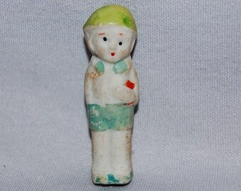 Vintage / Bisque Doll / Boy / Student / Book / frozen charlotte / penny doll / Vintage Dolls