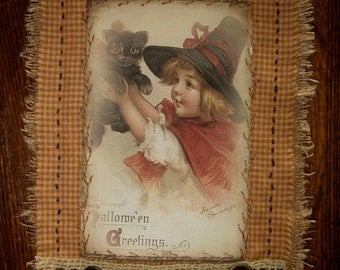 Halloween little Girl Witch with black kitten... Mini Vintage Lace Quilt Collage Sampler
