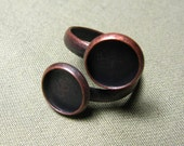 10 PCS 10mm Antique Bronze Tone Brass Adjustable Ring Base Blank  dual ring