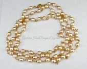 Genuine Champagne Freshwater Pearl and 14k Gold Filled Opera Heirloom Necklace Special Event Necklace Wedding Necklace Red Carpet Necklace
