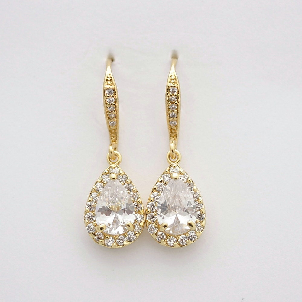 Etsy Wedding Gift Jewelry : Gold Drop Earrings Wedding Jewelry Bridal Earrings Cubic