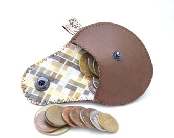Vegan Coin Purse / Brown Faux Leather and Check Print Cotton Lining / Ready to Ship