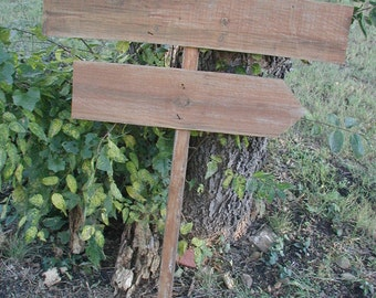 DIY Aged Brown Reclaimed Fence Wood Wedding Sign on Stake Rustic Western Blank  Directional