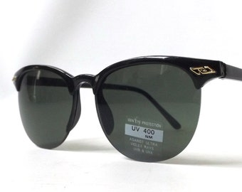 vintage 1980's clubmaster sunglasses black plastic frames black lenses sun glasses mens womens accessories accessory fashion retro modern