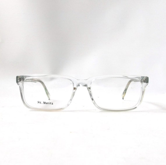 Eyeglass Frames Crystal Clear : vintage 1980s NOS eyeglasses square clear by ...