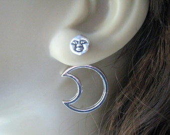 Sun Moon Double Sided Earrings Back Front Earring Ear Jacket Earrings Silver Crescent Moon Studs Surgical Steel Trendy Jewelry