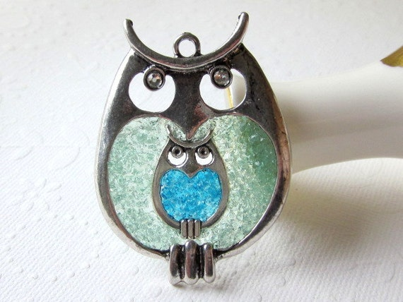 Mother Baby Necklace Baby Shower Gift Pregnant Owl Pendant Large Small Personalized Gift Birthstone Charm New Mom Jewelry Stained Glass