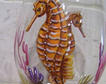 Seahorse Wine Glass Hand Painted Under the Sea (Custom Order Only)
