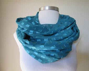 Emerald blue Chiffon Infinity Scarf SALE 50% OFF!