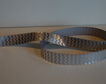 Gray and Silver Metallic Chevron Ribbon 5/8 width 5 yards