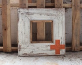 Rustic Distressed Frame Whitewash Cross + Plus Sign Symbol in ANY Color