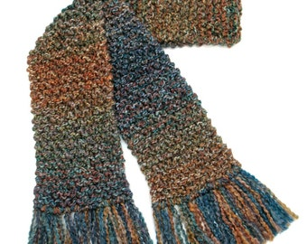 Long Chunky Knit Scarf, Winter Scarf for Men or Women, Blue Green Brown Scarf