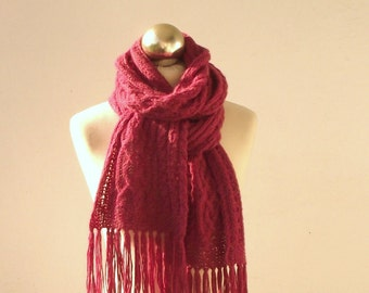 25% OFF Raspberry Pink hand knitted alpaca long scarf with celtic cable pattern, knit scarf, knitted alpaca scarf