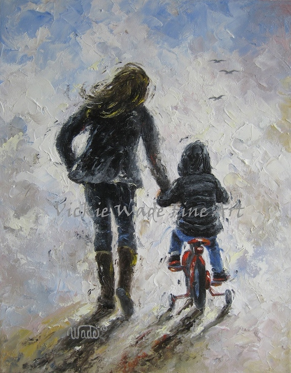 Mother And Son Art Print First Bike Ride Mom By