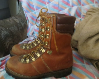 Vintage Montblanc Sport Brown Leather Hiking Men's Mountaineering Stomper Thinsulate Insulation Boots Size  8