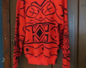 80s   Playboy Hipster oversized   Sweater Ski red and black AZTEC  PRINT   Gaudy   Sweater    Made In USA sz large  men or womens