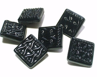 Vintage Black Glass Buttons Set 6 Square Shiny Sewing Embellishment Buttons 22mm