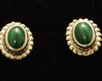 Sterling Silver and Malachite Post Earrings