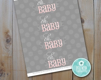 Baby Shower Water Bottle Labels / Oh Baby, PInk / Instant Download / PRINTABLE / 13004
