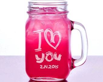 I Love You Valentines Day Gift Idea Engraved Mason Mug 16oz  2015 Personalized Drinking Glass Couple Boyfriend Girlfriend Glass Jar
