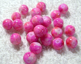 Dark Pink Veined Spray Painted Round Glass Beads - (24 Pcs) - (8mm) - B-1400