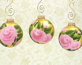 Hand Painted Christmas Ornaments - Pink Roses, Gold Ornament READY TO SHIP Set of 3 - Ornaments for Christmas Balls Stocking Stuffer Gift