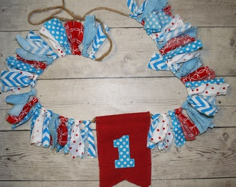 Red Aqua Turquoise Shabby BUNTING, Fabric Flag Banner, Pennant, Nursery Decor, Photo Prop-First Birthday, Cake Smash